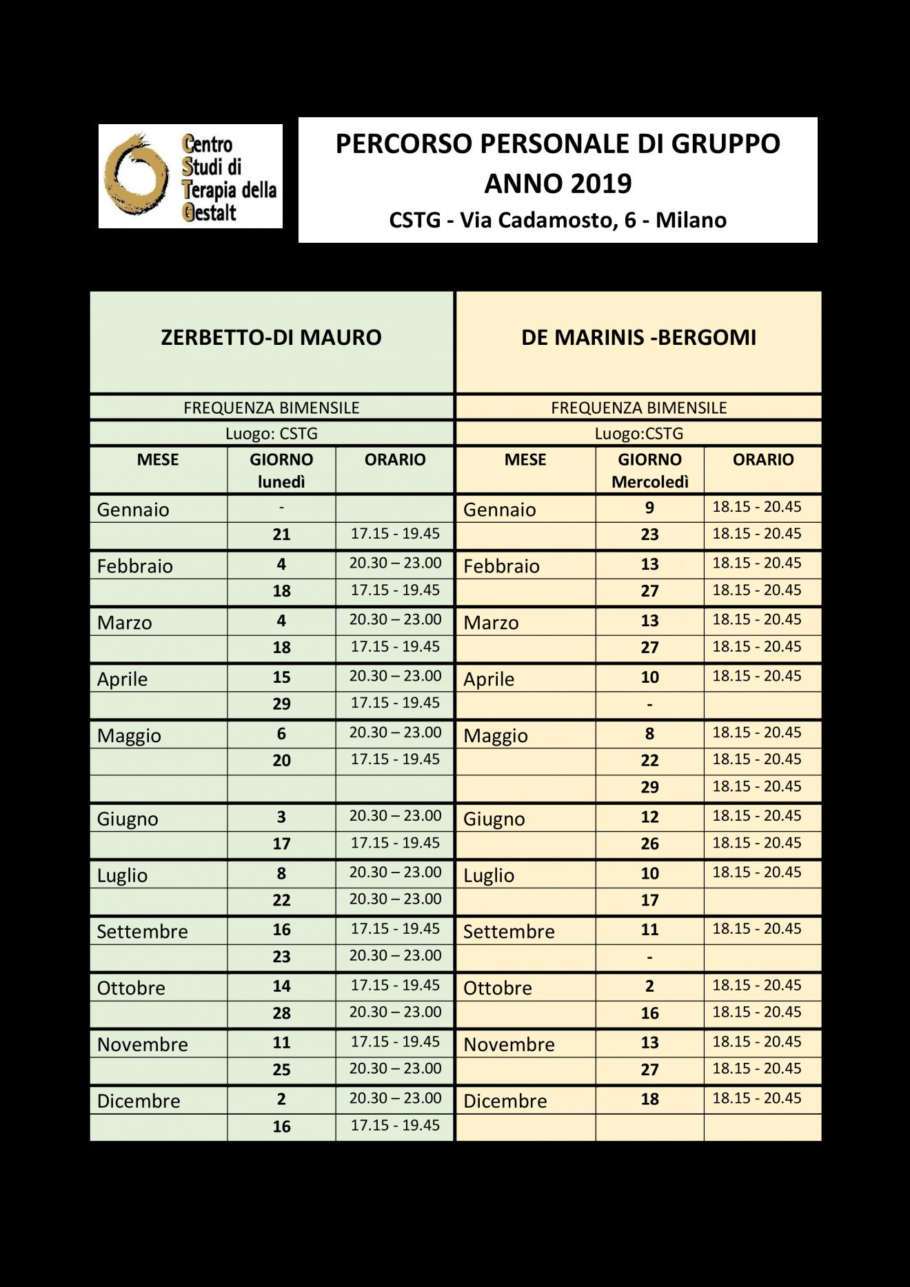 calendario gruppi terapia 2019